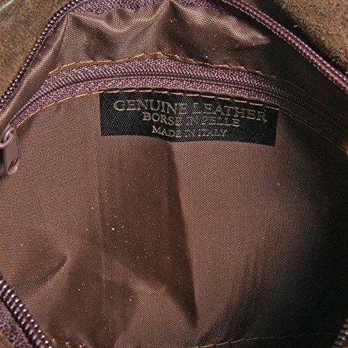 FIRENZE ARTEGIANI.Bolso de mujer piel auténtica.Bolso bandolera mujer de cuero genuino GAMUZA con flecos. MADE IN ITALY. VERA PELLE ITALIANA. 24x26x5 cm. Color: MARRON OSCURO