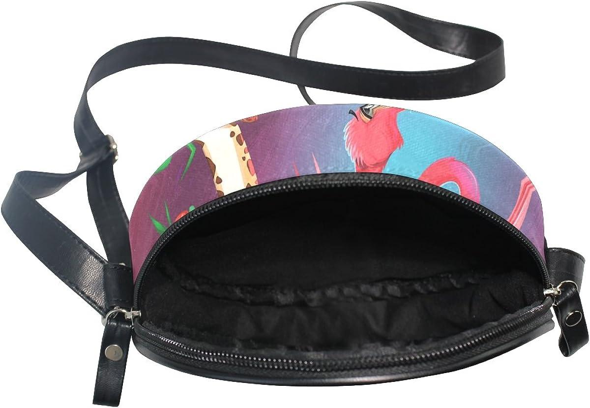 XinMing Giraffe Flamingo Girl Round Crossbody Shoulder Bags Adjustable Top Handle Bags Satchel for Women