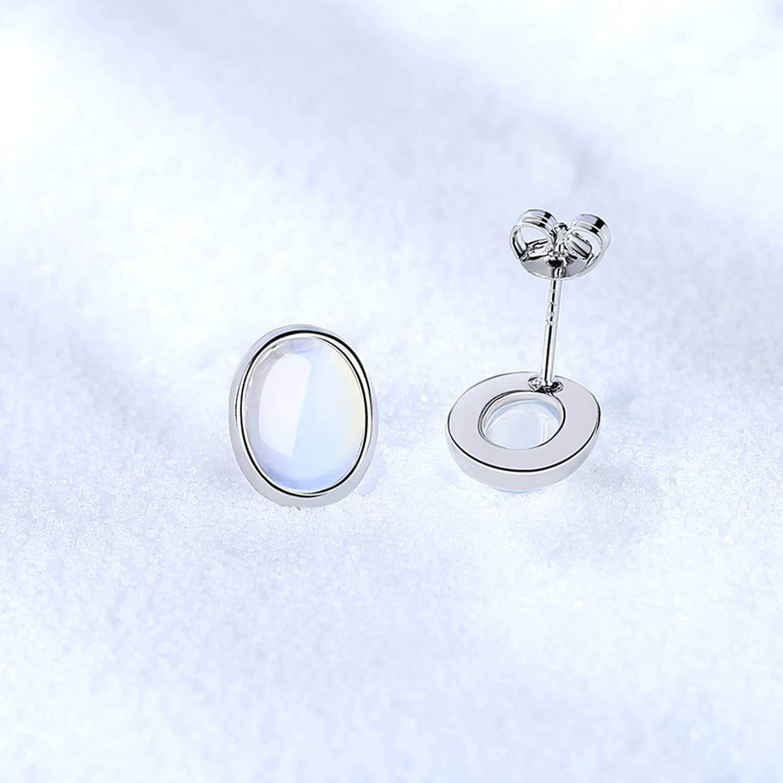 Popular Luxury Moonstone Crystal Silver Earrings 925 Women Circle Earrings Woman Accessoires Vintage Stud Earrings For Femme