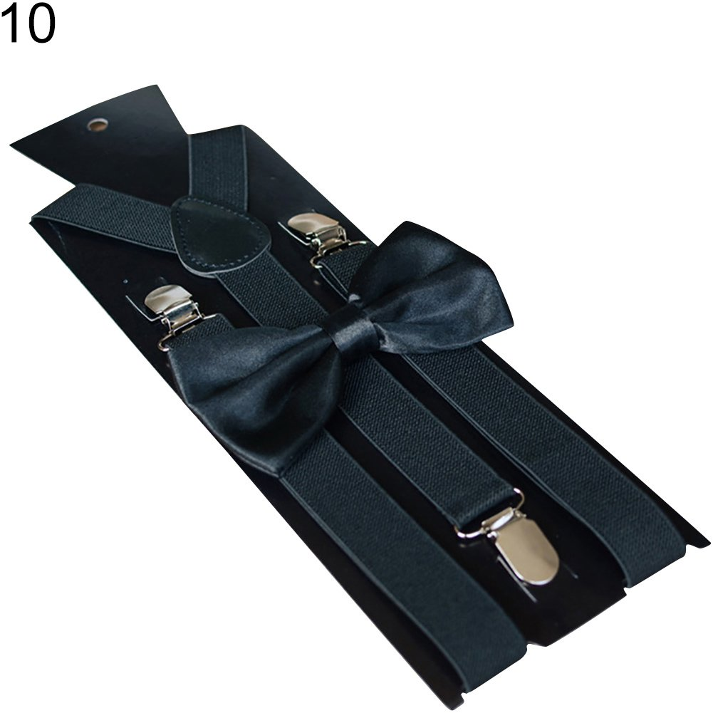 Infgreate Stylish Business And Durable Solid Color Kids Adult Clip-on Elastic Y-Shape Adjustable Suspenders Bowtie Set