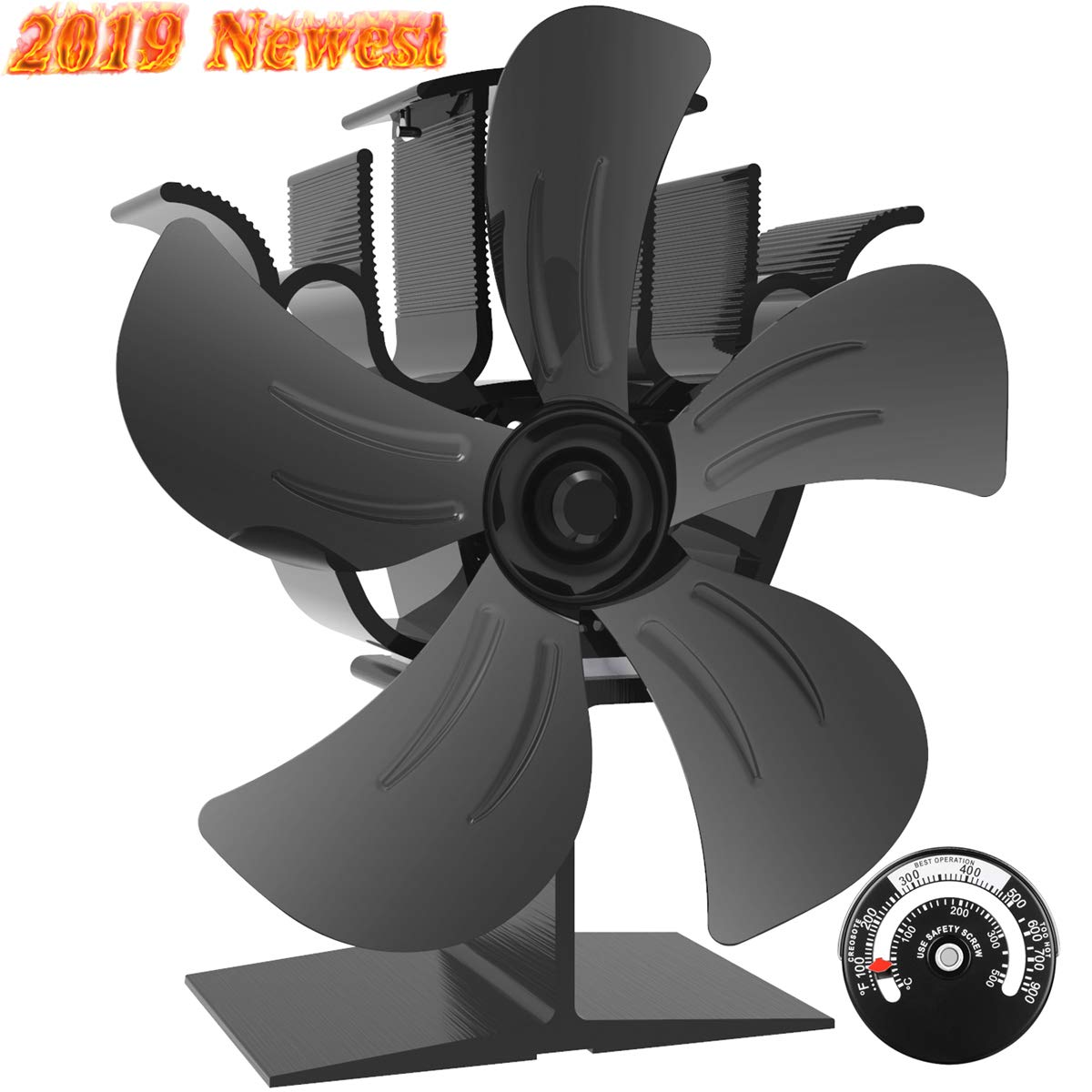 Sonyabecca 5 Blade Stove Fan Wood Stove Fans Fireplace Fan Heat Powered with Magnetic Thermometer Aluminium Eco-Friendly for Wood Log Burner Fireplace by Sonyabecca