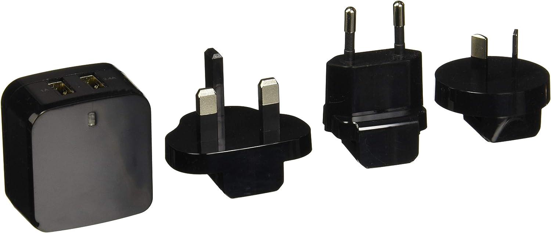 StarTech.com Travel USB Wall Charger - 2 Port - Black - Universal Travel Adapter - International Power Adapter - USB Charger (USB2PACBK)