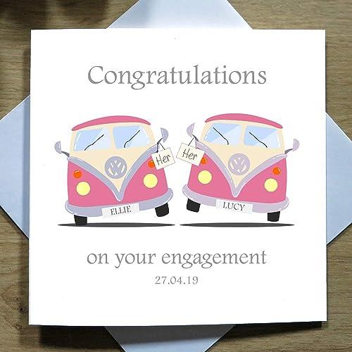 a2b88de079 Personalised Handmade Greeting Card - Engagaement Cards - Mrs   Mrs Camper  Van - Custom Names