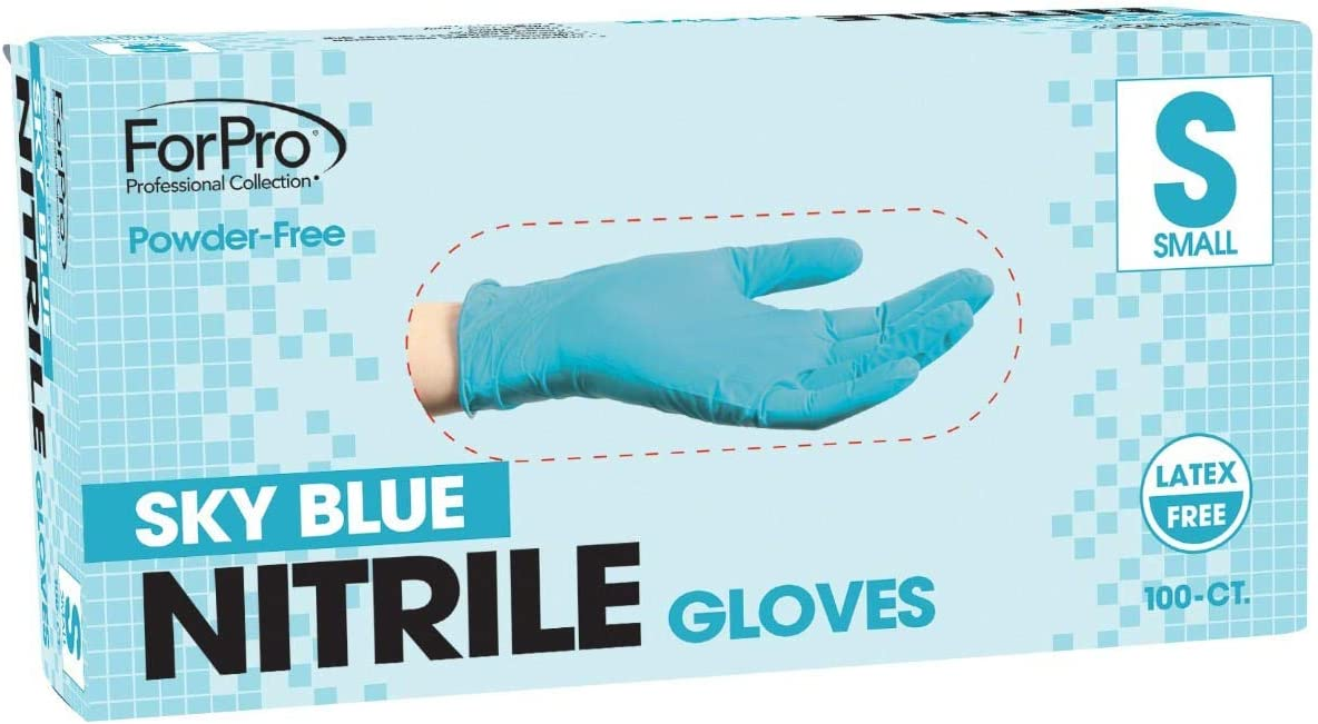 ForPro Sky Blue Nitrile Gloves, Powder-Free, Latex-Free, Non-Sterile, Food Safe, 4 Mil, Small, 100-Count