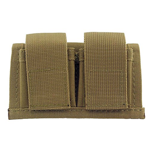 HTBMALL Camouflage Off-Duty Concealed Tactical Double SpeedLoader Belt Pouch Universal Fits 22 Mag Thru 44 Mag (Khaki)