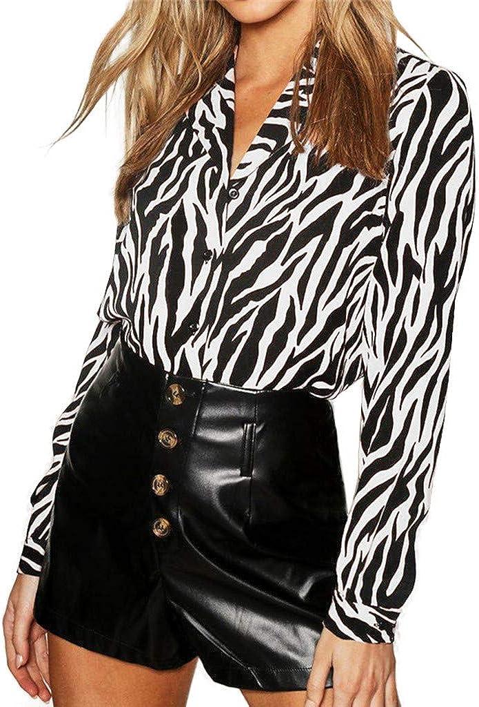 LEEDY Moda Mujer con Cuello En V Manga Larga Gasa Estampado De Cebra Camisa Suelta Ocasional Camiseta: Amazon.es: Ropa y accesorios