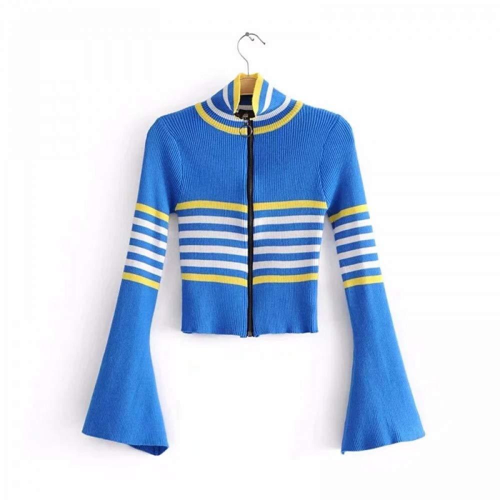 FUHENGMY Pullover Damenmode Gestrickte Cardigans Pullover Reißverschlüsse Kurze Gestreifte Flare Ärmel Pullover Übergroßen