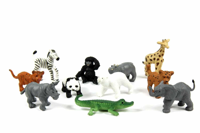 Miniblings 11x Zootiere Wildtiere Wildtierkinder Tierfiguren Aufstellfiguren Zoo