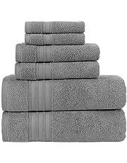 Hammam Linen 6-Piece Original Turkish Cotton Soft, Absorbent and Premium Towels Set for Bathroom and Kitchen 2 Bath Towels, 2 Hand Towels, 2 Washcloths (Cool Grey, Bath Towel Set 6 Pieces)
