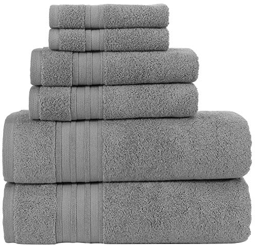 Hammam Linen Cool Grey Bath Towels Set Hotel Quality Absorbent 6 Piece Towels | 2 Bath Towels | 2 Hand Towels | 2 Washcloths [Worth $65.95]