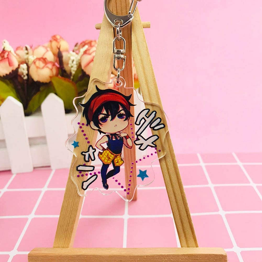 Quero Jom91 Anime JoJos Bizarre Adventure Acrylic Keychain Pendants Doll Keyrings for Clothes Backpack Novelty Accessory