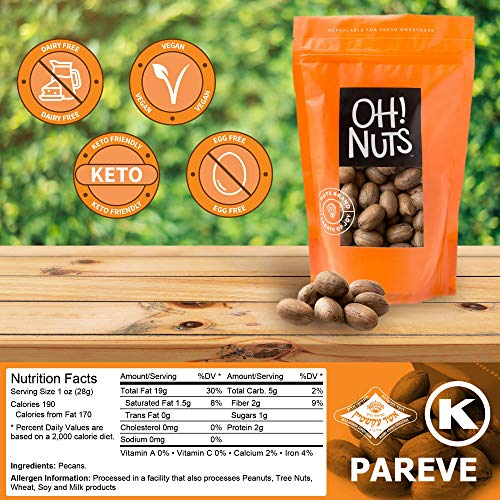 Oh! Nuts Pecans in Shell | Low-Carb, High-Protein Keto Snacks | Resealable Stay-Fresh 2-Pound Bulk Bag | All-Natural, Premium Nuts in Shell Without Salt or Sugar | Healthy Vegan, Gluten-Free Snacking 2