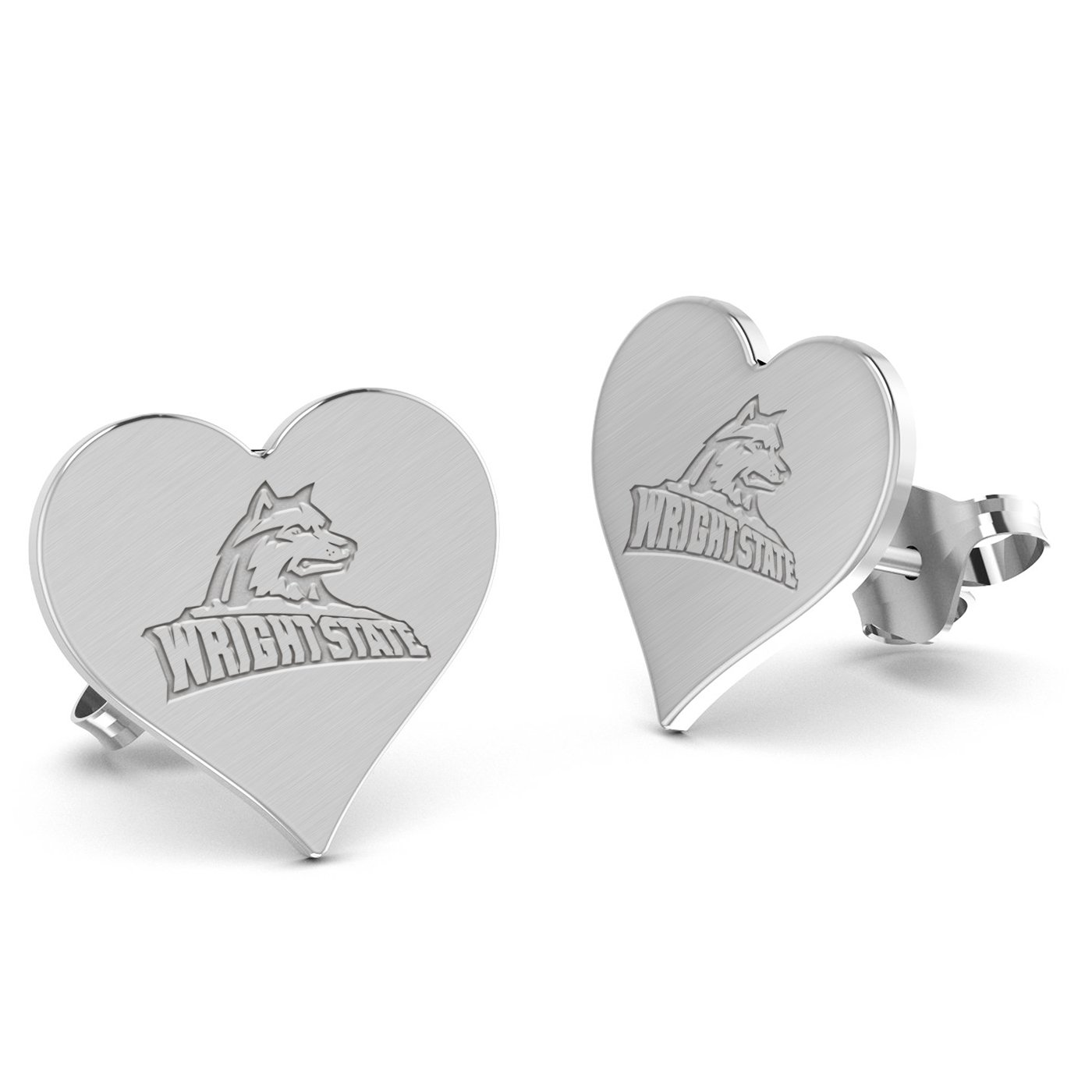 Wright State University Raiders Heart Stud Earring See Image on Model for Size Reference