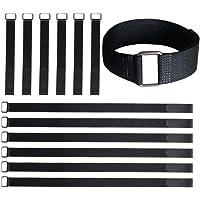 VIGAER Envolturas Reutilizables para Sujetar Cables con Gancho y Lazo, 12-24 Inch Black, 12-24 Inch Black