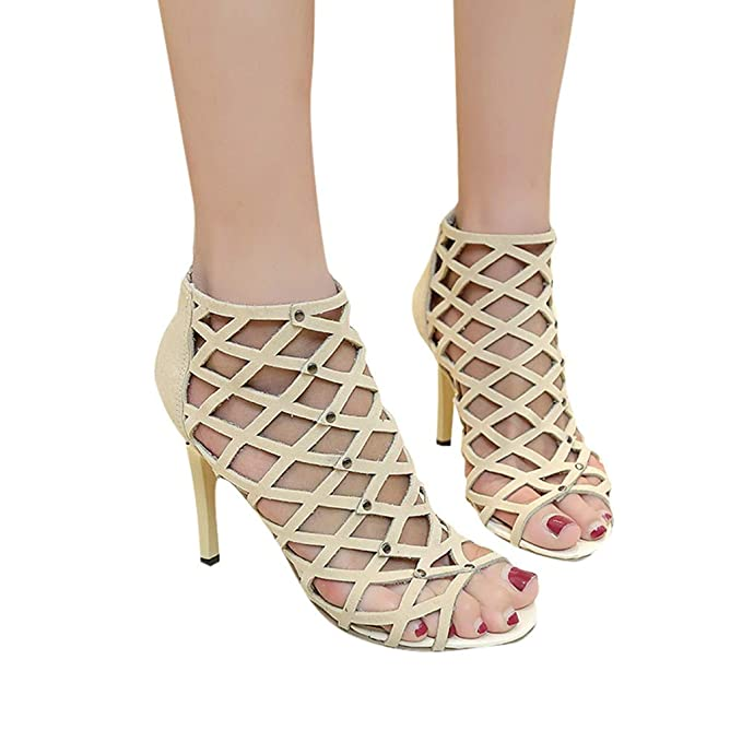 Sandalias de Mujer Zapatos de tacón Alto Peep Toe de Moda para Mujer Sandalias Romanas de Gladiador Rivet Tacones de Correa de Tobillo Sandalias Chunky de ...
