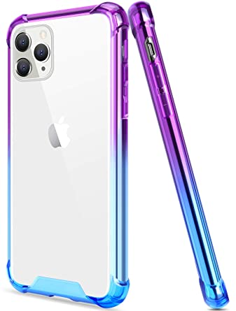 Salawat for iPhone 11 Pro Case, Clear iPhone 11 Pro Case Cute Gradient Slim  Phone Case Cover Reinforced TPU Bumper Hard PC Back Shockproof Protective