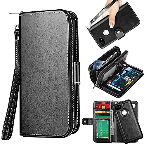 ELV Designed Google Pixel 2 XL Case [PU Leather] Slim Folio Wallet Purse Protective Magnetic Closer [Pull tab] Cover for Google Pixel 2 XL - Black