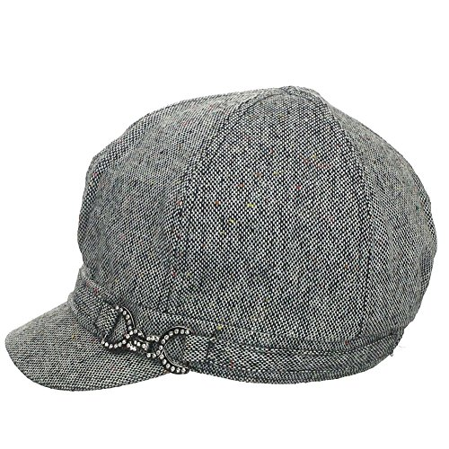 Womens Wool Blend Tweed Crystal Casting Accent Newsboy Cap - (Accent Wool Blend)