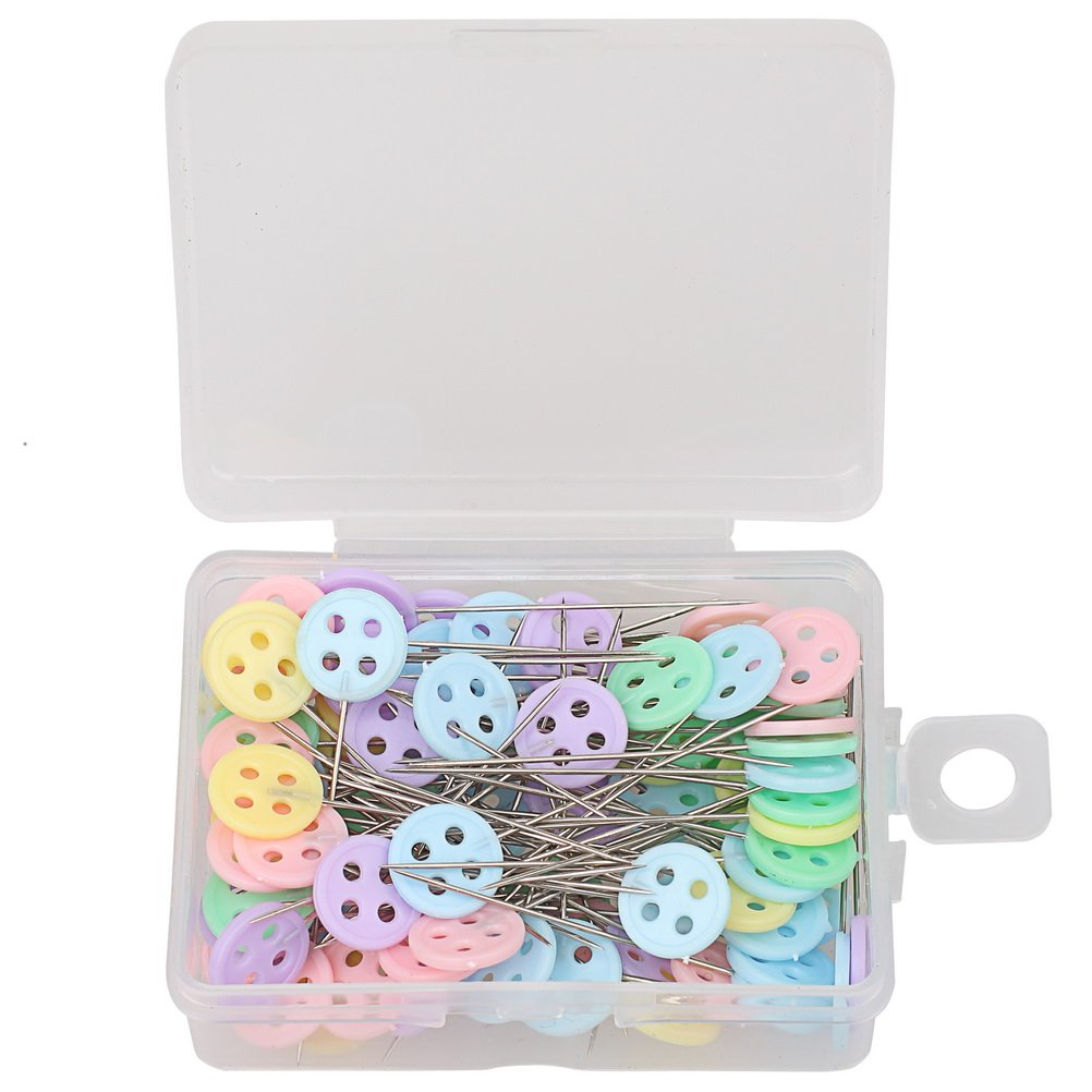 Assorted Colors Decorative Straight Pins Sewing pins Boxed for Sewing DIY Projects Pengxiaomei 200 Pieces Flat Button Head Pins