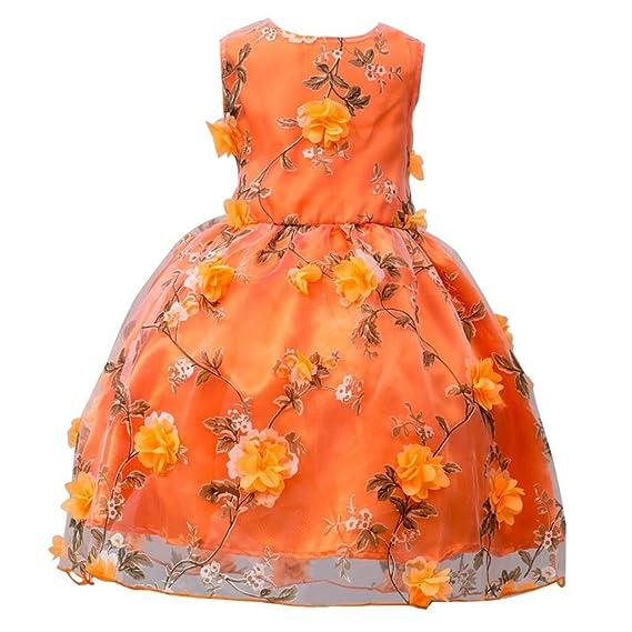 Lenfesh Niña Vestido de boda Fiesta Sin mangas Vestido de Princesa con Flores para Chica de