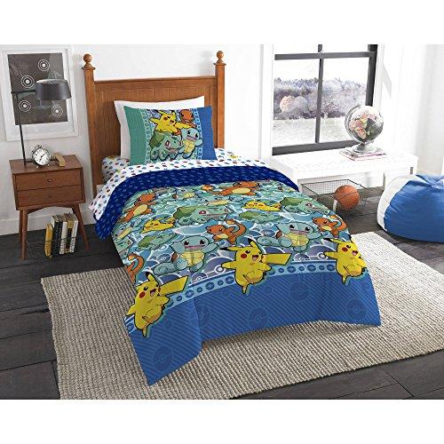 "4 Pieces Pokemon /""First Starters/"" Twin Bed Bedding Set Comforter Sheet Set Kids"