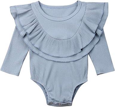 Bebé Ruffle Romper algodón Manga Larga Bodysuit Casual Camiseta Blusa Blusa para 0-12 Meses: Amazon.es: Ropa y accesorios