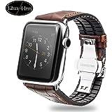 Xboun コンパチブル apple watch バンド,本革 ビジネス用 アップルウォッチバンド プッシュ式 Dバックル 手作り ゴム Apple Watch Series 4/3/2/1/Nike+ (42mm/44mm, ブラウン)