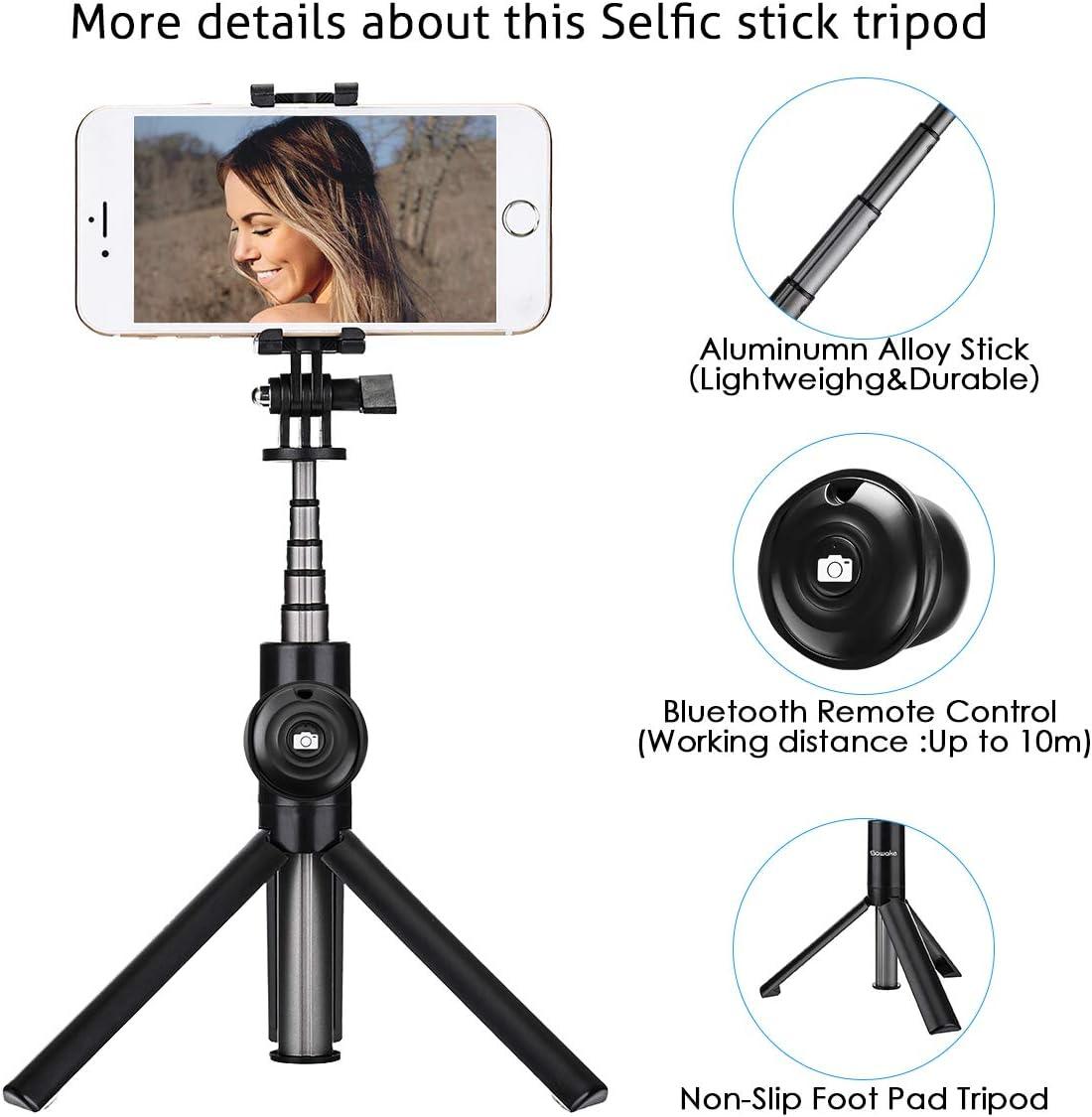Bluetooth Tr/ípode Mesa C/ámara 2 en 1 Selfie Stick con Control Remoto para iPhone X 8 8 Plus 7 7 Plus 6s y Android … SAWAKE Palo Selfie Tr/ípode Inal/ámbrico Gris