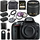 Nikon D5300 DSLR Camera with AF-P 18-55mm VR Lens (Black) + EN-EL14 Replacement Lithium Ion Battery + External Rapid Charger + Sony 32GB SDHC Card + Carrying Case Bundle