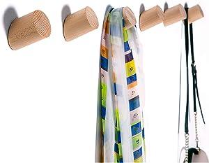 Wall Hooks, Felidio Natural Wood Coat Hooks Wall Mounted (Pack of 2pcs) - Rustic Wall Coat Rack Hat Hooks Robe Hook Entryway Wall Hangers Heavy Duty Hooks for Hanging Towels (Beech Wood)