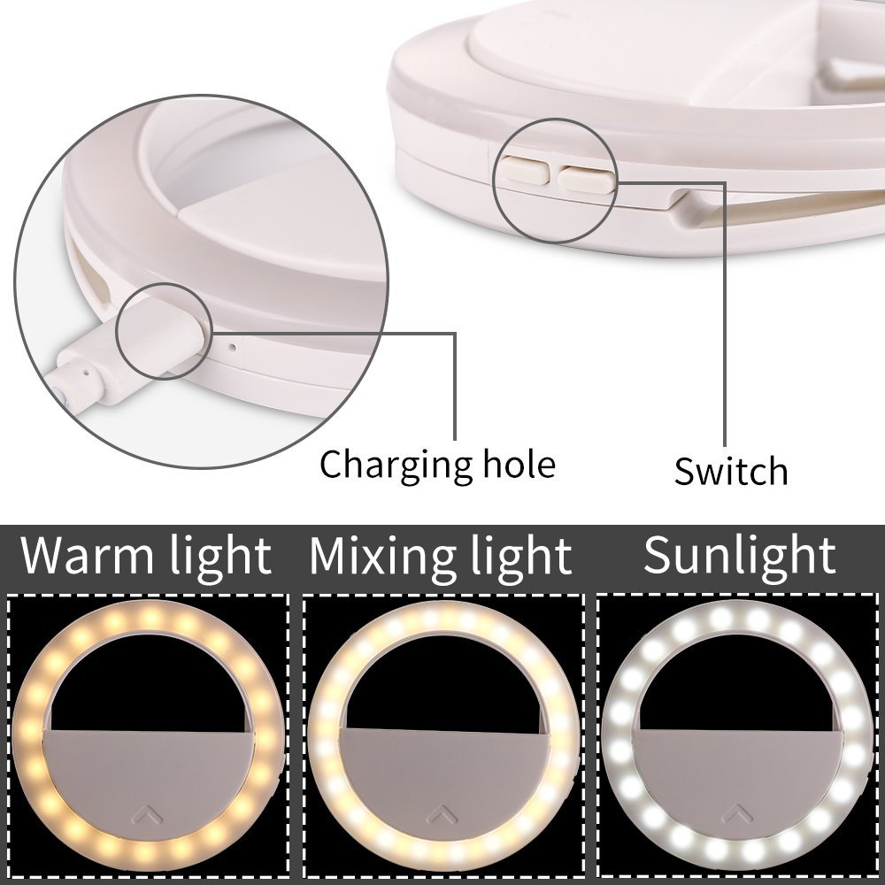 YELIN Selfie Light Ultrathin 40 LED Selfie Ring Light Supplementary Lighting 16 Adjustable Lights Clip on Light for iPhone Samsung Make up Light for Girls (White)