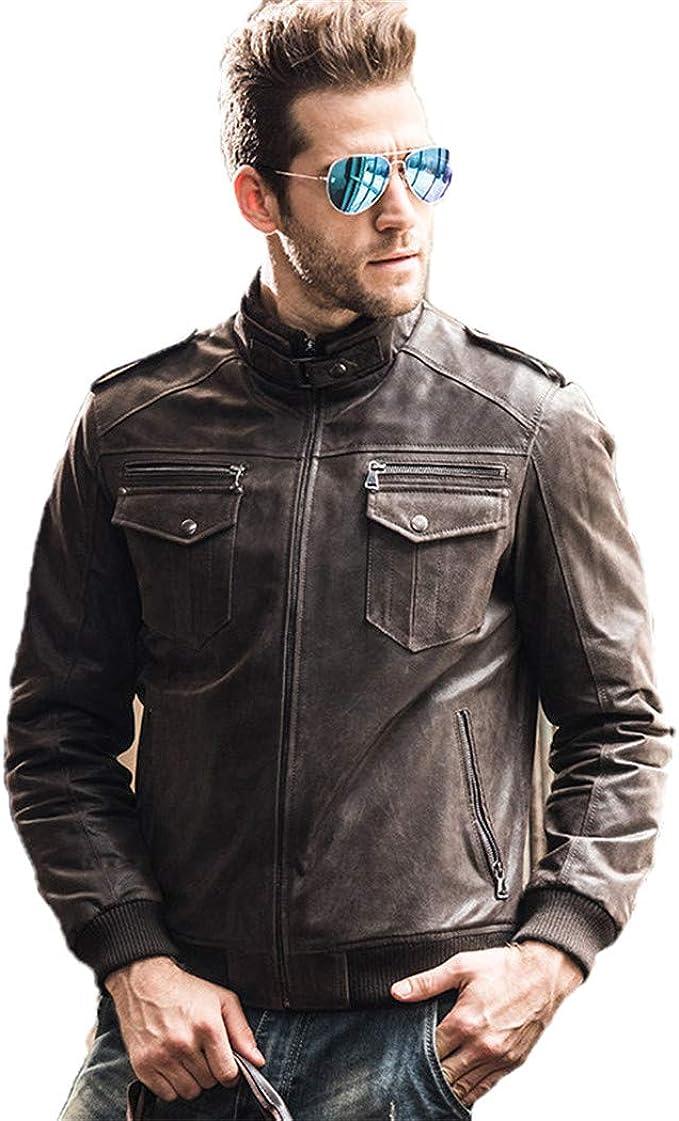 メンズピッグスキンオートバイリアルレザージャケットパディングコットン冬の暖かいコート本革のジャケット