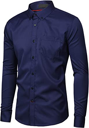 Men Dress Shirts Long Sleeve Casual Slim Fit Business Button Formal Shirts Comfy