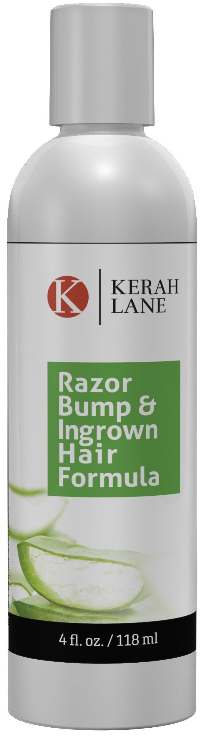 Kerah Lane Razor Bump & Ingrown Hair Natural Formula 4 Oz for Women & Men: Best Serum for Ingrown Hairs, Acne, Razor Bumps, Razor Burn: Use After Shaving, Waxing, Electrolysis & Hair Removal Treatment