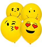 MESHA Emoji Balloons Bright Yellow with Smiley Face for Party/Playing Decoration, Kiss and Heart Faces, 4 Different Styles 10 Inches (74 pcs)