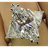 by lucky Fashion Women 925 Silver Marquise Cut White Sapphire Ring Wedding Party Jewelry (8)