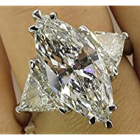 Fashion Women 925 Silver Marquise Cut White Topaz Gem Ring Engagement Jewelry (10)