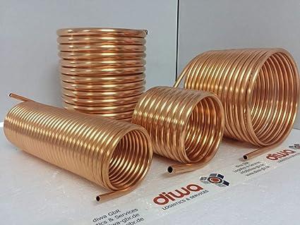 206mm Spirale Kupferrohr 15x1mm für OFENROHR 200mm aus 10m Innendurchmesser ca