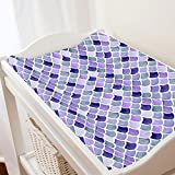 Carousel Designs Lilac Watercolor Scales Changing Pad Cover - Organic 100% Cotton Change Pad Cover - Made in The USA