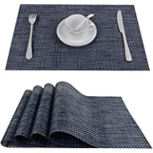 "Top Finel Deluxe PVC Bamboo Placemats Washable Heat-resistant for Dining Table 12"" By 18"" (Set of 4, Dark Blue)"