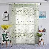 LianLe Leaf Pattern Printing Curtain Gauze Window Gauze Sheer Curtain Home Decoration, Green