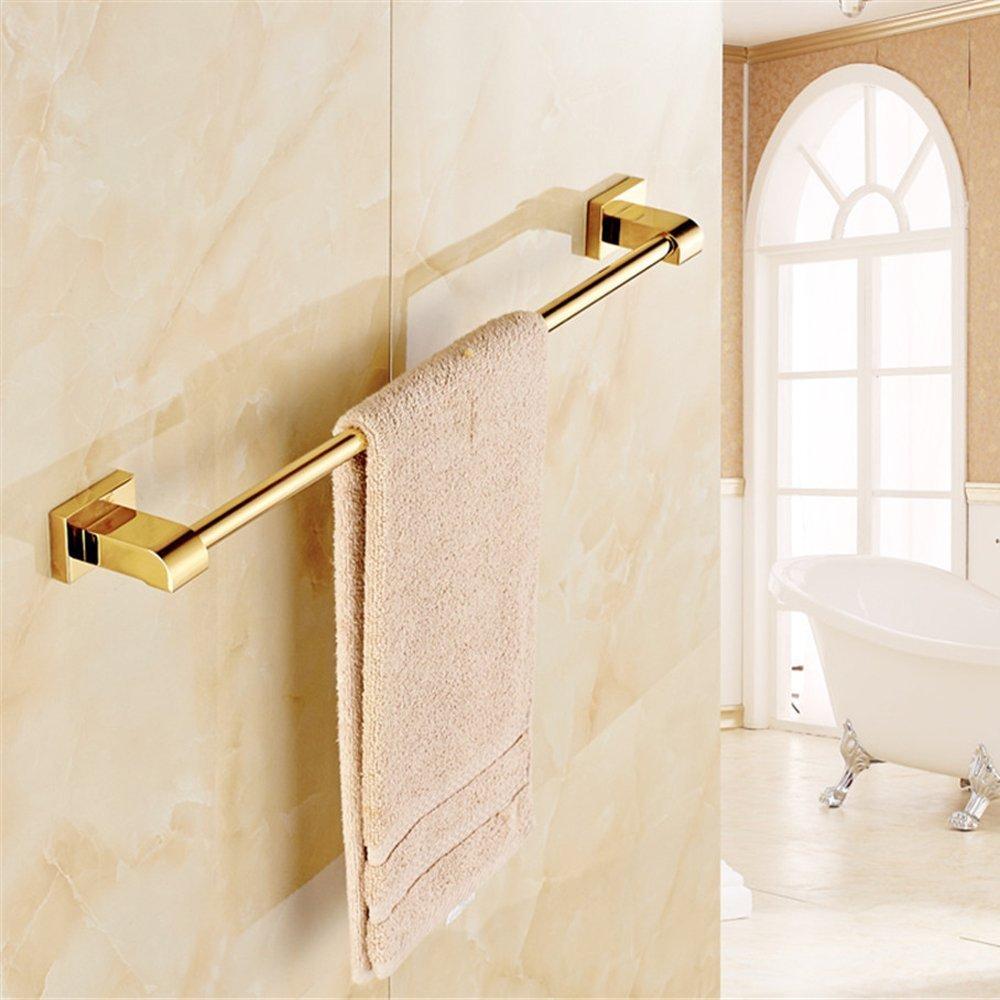 ライデンTMラグジュアリーゴールド光沢仕上げ真鍮バスルームシングルタオルバー壁マウントタオルラック B01H36H6H8