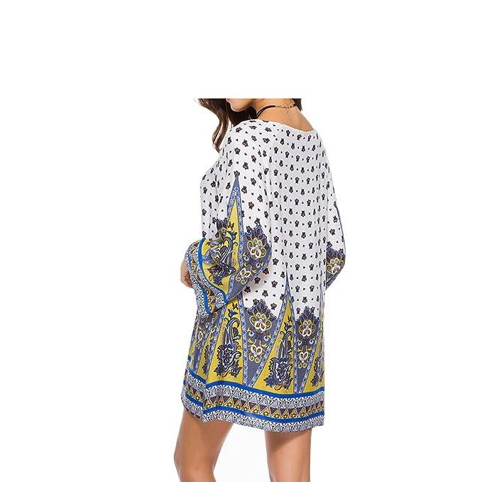 1e276ef485e Eric Hug 2018 Summer Dresses Women Beach Dress Long Sleeve Tunic Vintage  Print Dress Robe Femme