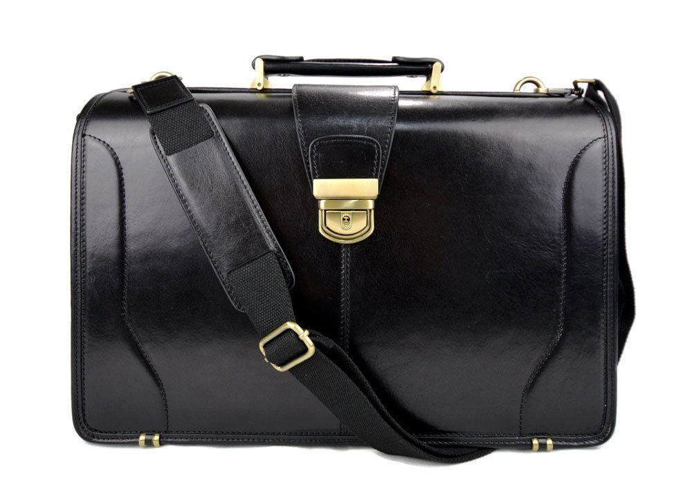 Doctor bag leather mens doctor bag XXL handbag ladies medical bag leatherbag vintage leather black made in Italy luxury bag travel weekender