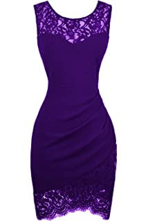 Swiland Womens Bodycon Sleeveless Little Cocktail Party Dress Floral Lace