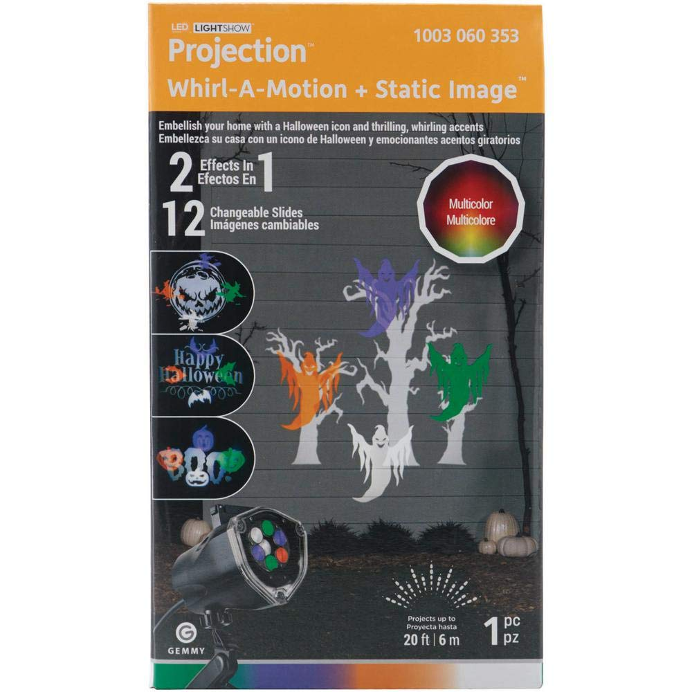 Gemmy Light Projection-Whirl-A-Motion Plus Static Stake with 12-Multi Color Halloween Slides