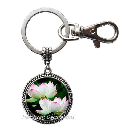 Amazon.com: Llavero de flor de loto. Llavero de flores ...