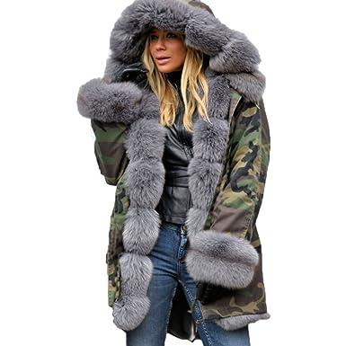 Elegant Mioim Hiver Long Camouflage Manteau Jacket Femme Veste xzXzOPB