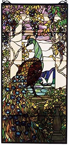 Meyda Home Indoor Bedroom Decorative 19 W X 40 H Tiffany Peacock Wisteria Stained Glass Window