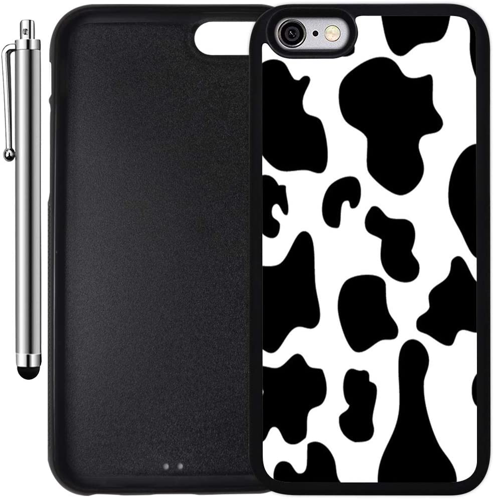 Custom Case Compatible with iPhone 6 Plus/6S Plus (5.5 inch) (Cow Print) Edge-to-Edge Rubber Black Cover Ultra Slim   Lightweight   Includes Stylus Pen by Innosub